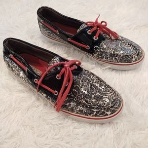 Sperry Floral Biscayne Sequin Boat Shoes